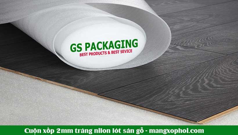 Cuộn xốp 2mm tráng nilon dùng lót sàn gỗ công nghiệp