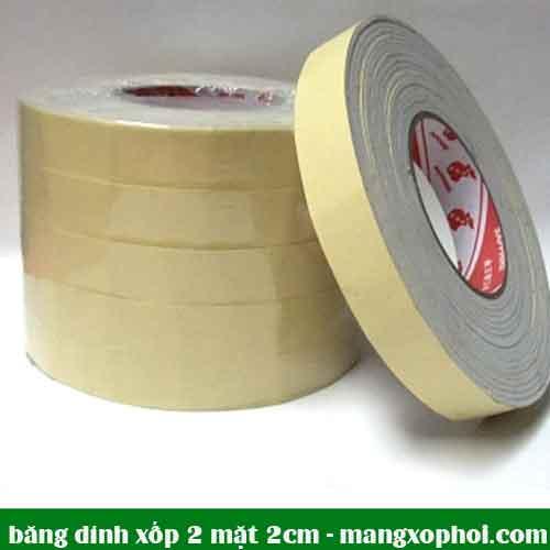 Cuộn băng dính 2 mặt xốp 2cm
