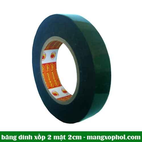 Cuộn băng dính Xốp đen 2 mặt 2cm
